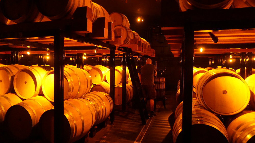 Margo allowed us a glimpse into their underground barrel room located directly underneath the tasting room of White Rose Estate as well as one of the manual presses used during harvest. Viki Eierdam