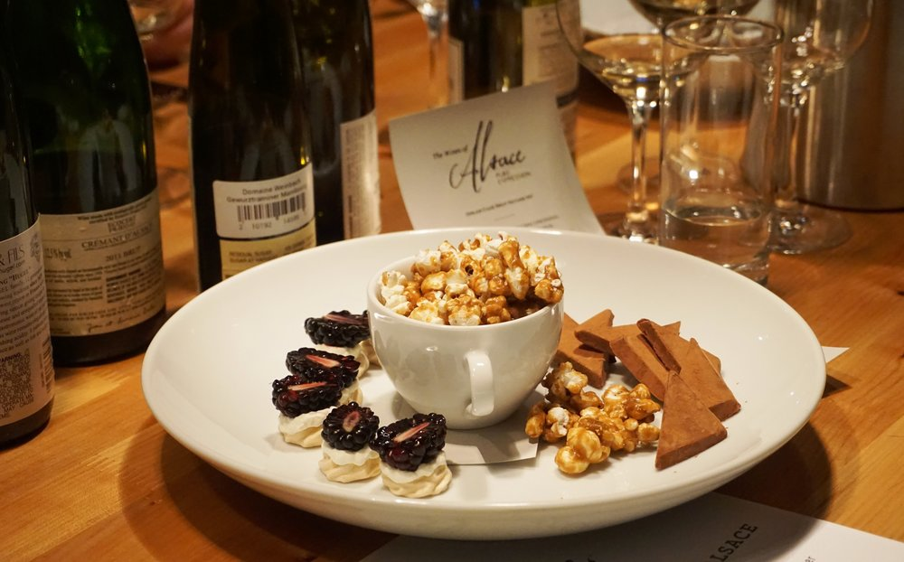 Fennel Pollen Caramel Corn, Blackberry Pavlova and Peanut Butter Melt-Aways continued to provide education in Alsatian wine pairings til the sweet end. Viki Eierdam