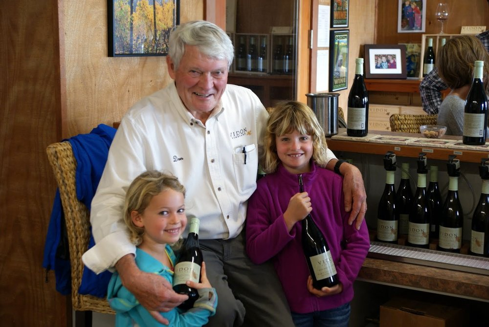 Vidon winemaker, Don Hagge, pictured with his granddaughters, Brigita and Mirabelle, after whom two of his estate pinot noir clones are named. Photo provided.