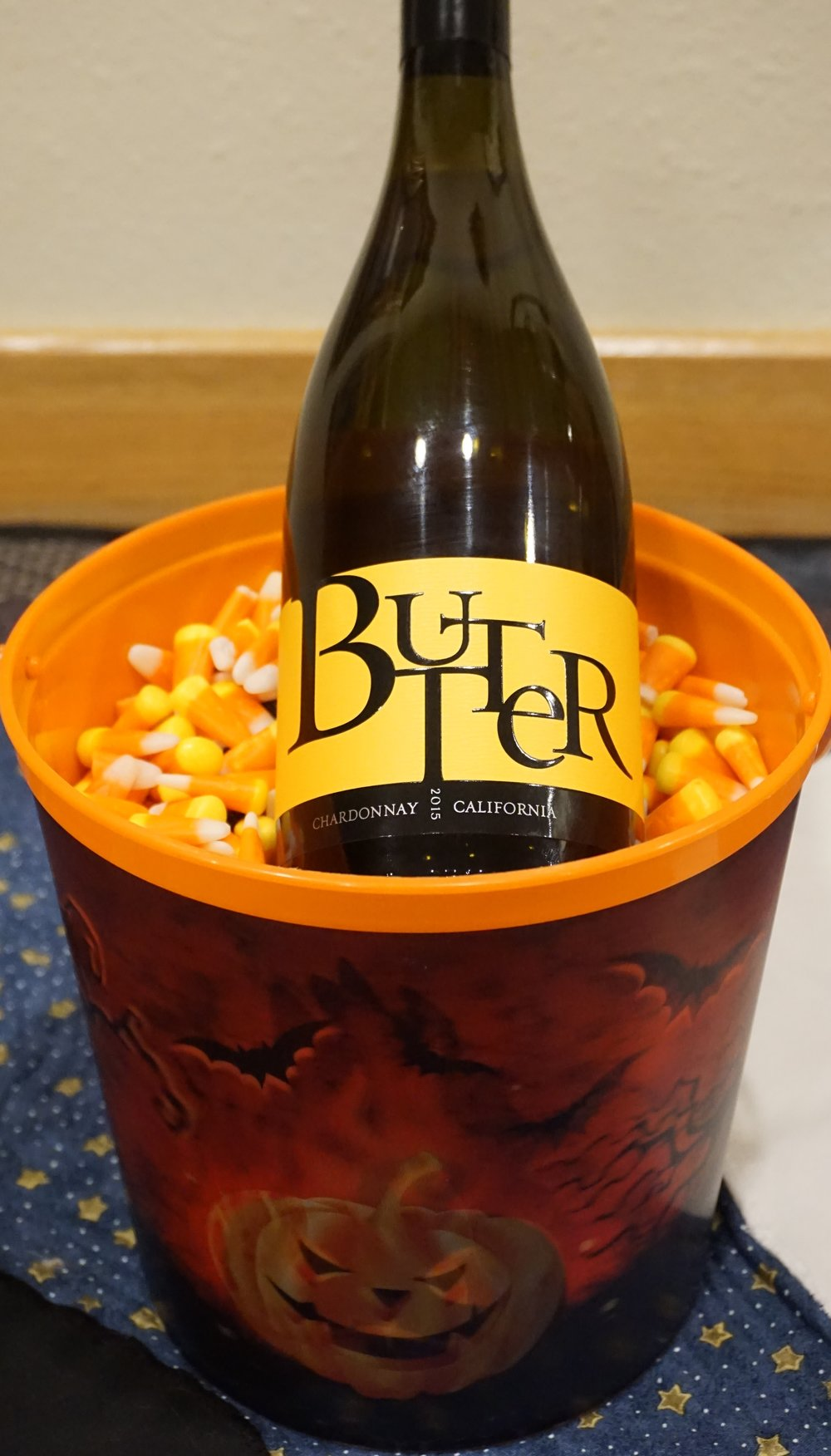 Jam Cellars 2015 Butter Chardonnay is a perfect match for candy corn; enough acid to keep the combination from being cloying with the matching creamy textures to complement each component. Viki Eierdam