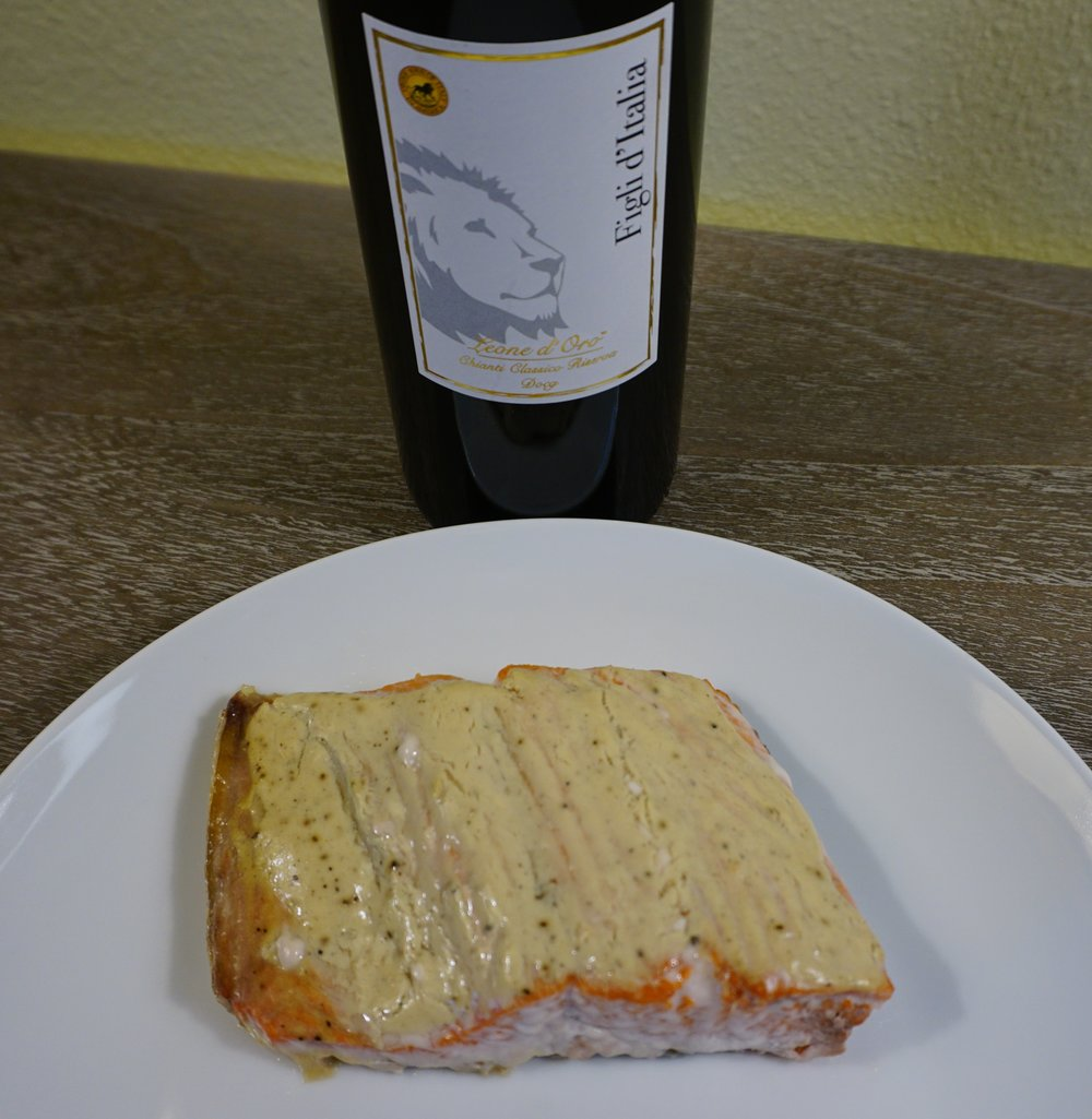 Photo error: Pair Mustard-Crusted Salmon with Pinot Gris for best match. Viki Eierdam