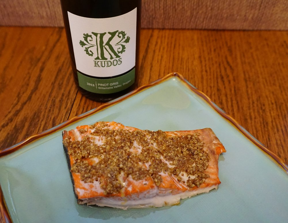 Photo error: Pair Pecan Crusted Salmon with Chianti for best flavor match. Viki Eierdam