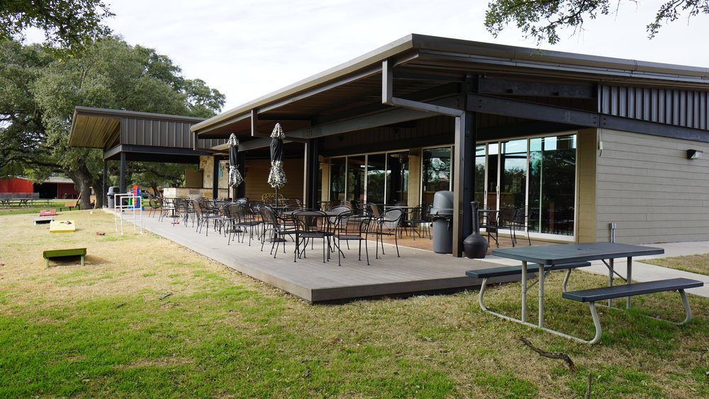 The patio of Hye Meadow Winery overlooks a stunning oak grove that can be enjoyed much of the year thanks to the temperate Texas climate. Dan Eierdam