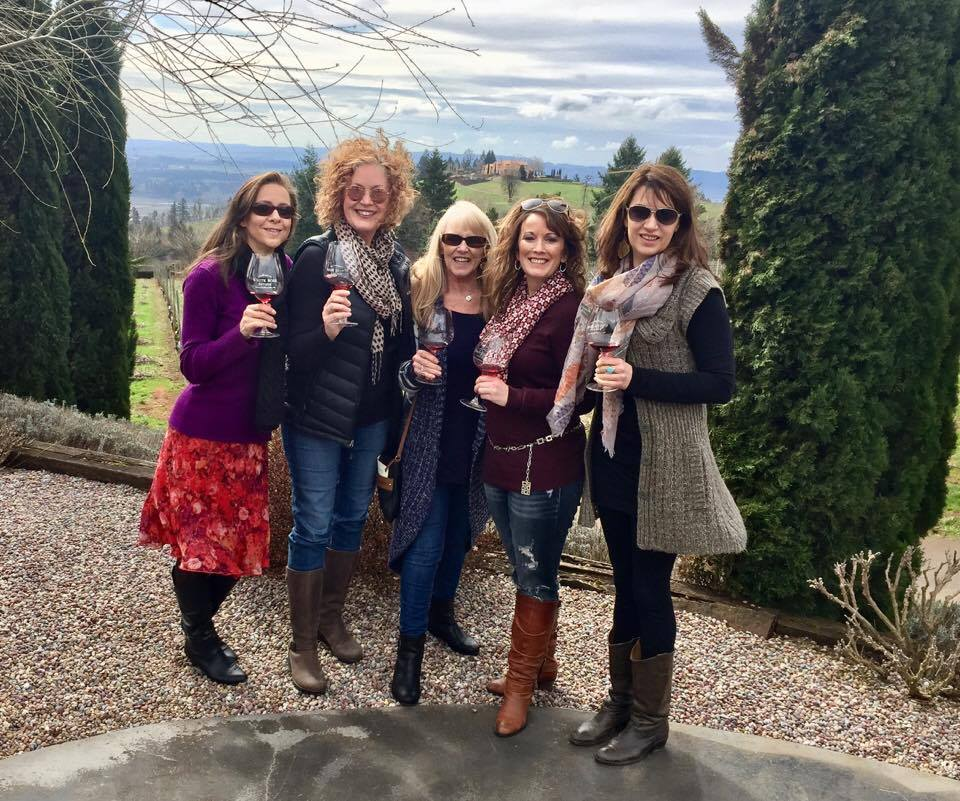 Viki Eierdam, Janine Julian of The Vine Travelers, Lynda Lathrop of Heathen Estate, Michelle Reinier Holmen of Confluence Vineyards, Michelle Brinning of Cellar 55 Tasting Room