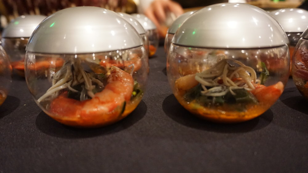 One of the five Spanish delicacies chef ambassador, Mikel de Luis, brought with him from Spain's Basque region was Cigalas—a dish of crispy rice noodles, marinated seaweed, Carabinero caldo corto, Mediterranean prawn fumet and baby eel. Viki Eierdam