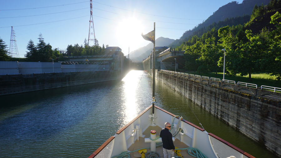 Approaching Bonneville Dam lock, the S.S.Legacy navigates through seven locks up river and seven locks down river on the Rivers of Wine cruise. Dan Eierdam