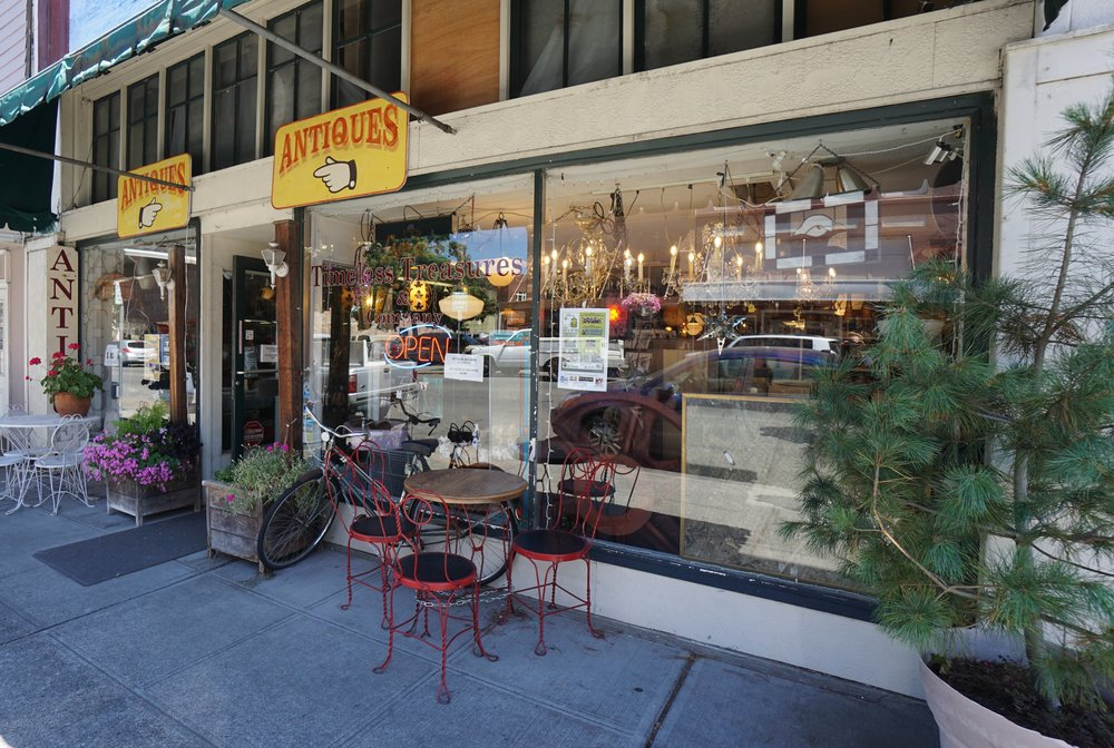 Antique stores like Timeless Treasures abound on Tower Avenue, the main drag in downtown Centraila, Washington. Viki Eierdam