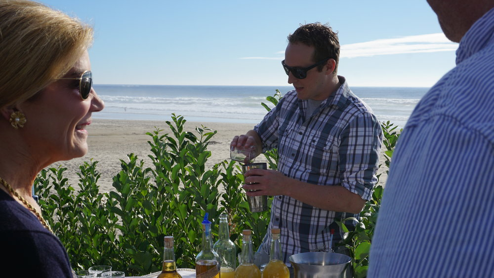 After a private tour and tasting at Cannon Beach Distillery with distiller, Mike Selberg, it was a fun surprise to see him sea side mixing agave margaritas with Jacobsen Salt and his own tequilla. Viki Eierdam