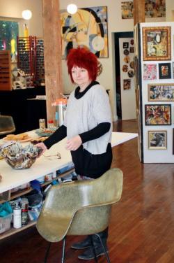 Karen Madsen, chair of Arts of Clark County, in her art studio.