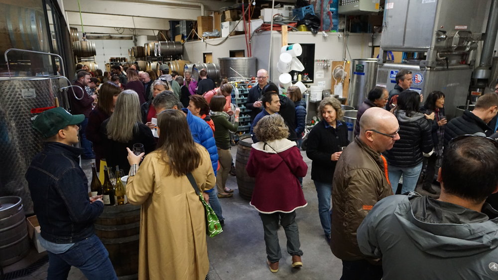 Surrounded by wines fermenting and aging, winemakers poured for ticket holders and offered up their tasting notes and meal pairings at the 6th Annual Urban Thanksgiving Celebration. Viki Eierdam