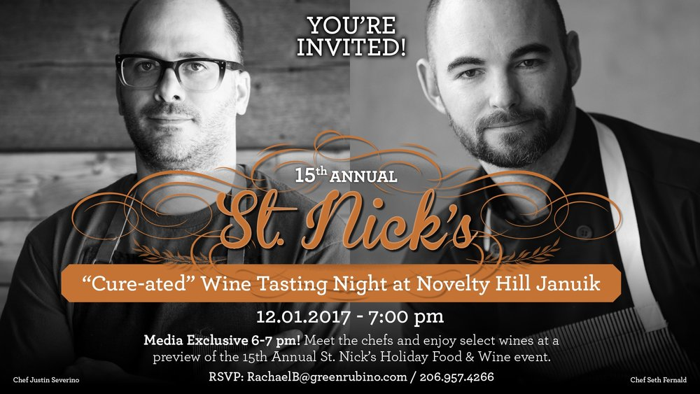 A few tickets are still available for the St. Nick's Celebration kick-off event; a private dinner at Betz Family Winery featuring chef and co-owner of Cure and Morcilla, Justin Severino. Photo provided