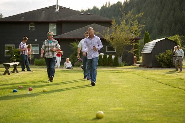 Bocce ball on the lawn at Pomeroy Cellars is a popular activity for guests of the winery during warm weather months. Courtesy of Pomeroy Cellars