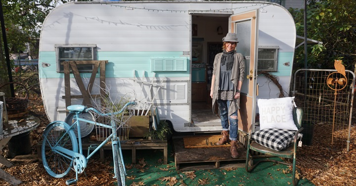 Denise Johnson, owner of El & Em in Battle Ground, has added three reconditioned vintage trailers to her shop space since last fall. Viki Eierdam