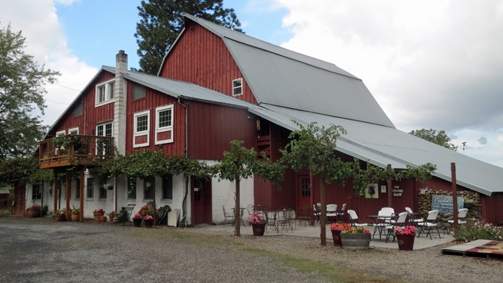 Today the Loafing Shed (in front of the historic barn) houses the tasting room for English Estate Winery. Viki Eierdam