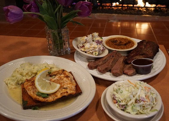 Chelatchie Crossing Smokehouse & Saloon is drawing ample influence from their 12-foot, locally-made smoker for selections like Cedar Plank Salmon and the BBQ Combo plate - this one featuring tri-tip and ribs. Viki Eierdam