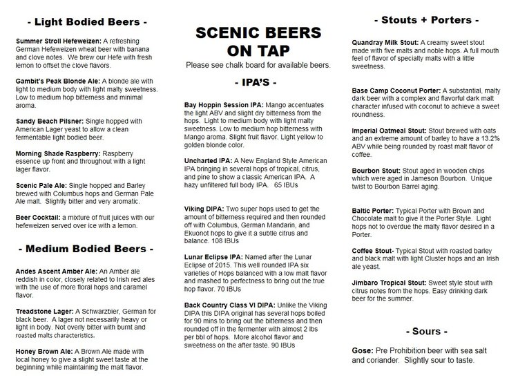 SEIZE YOUR ADVENTURE – Beer Menu