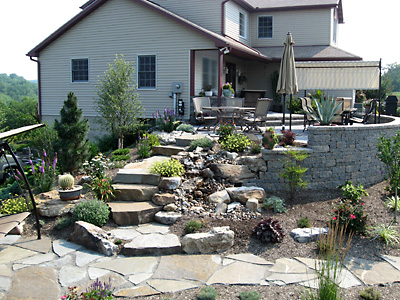 Professional landscape design with flagstone in Allentown, PA