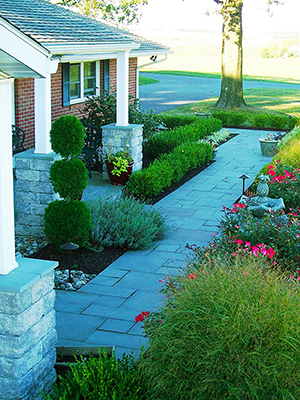 Professional landscape design with bluestone in Exeter, PA