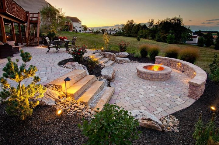 Professional landscape design with a fire pit in Wayne Township, PA