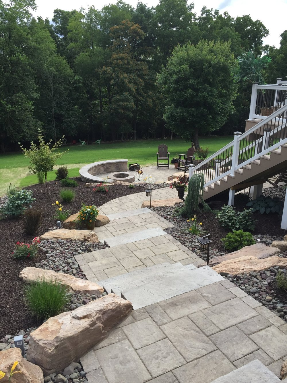 Professional outdoor fireplace landscape design in Reading, Exeter, PA