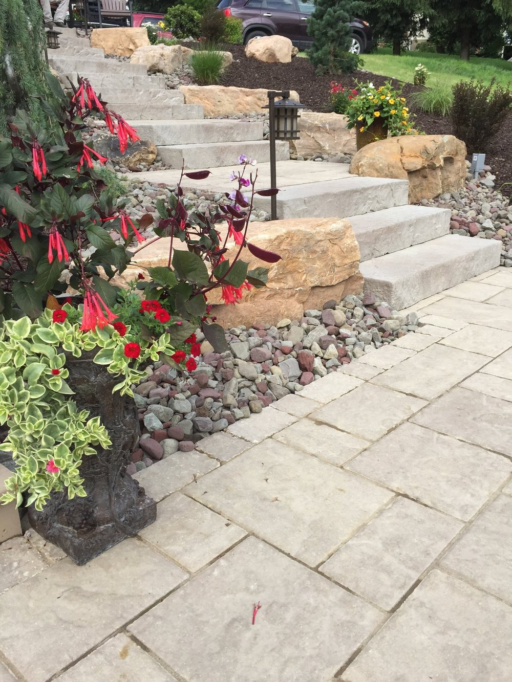 Top landscape design with bluestone in South Whitehall, PA