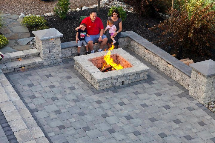 Professional landscape design with a fire pit in Lebanon County, PA
