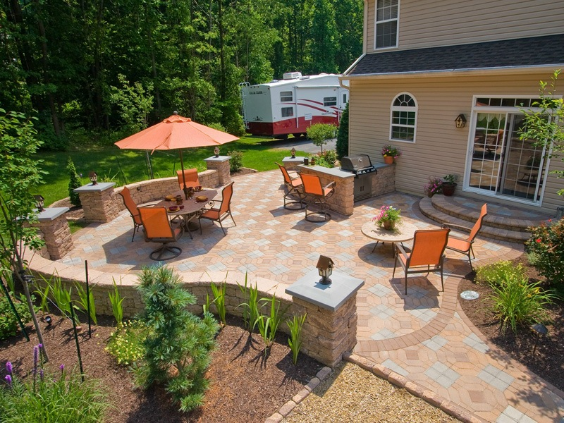 Top landscape design with outdoor kitchen in Wayne Township, PA