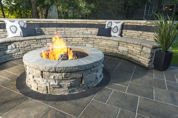 5 Unilock Concrete Wallstones for a Stunning Berks County PA Backyard Fire Pit