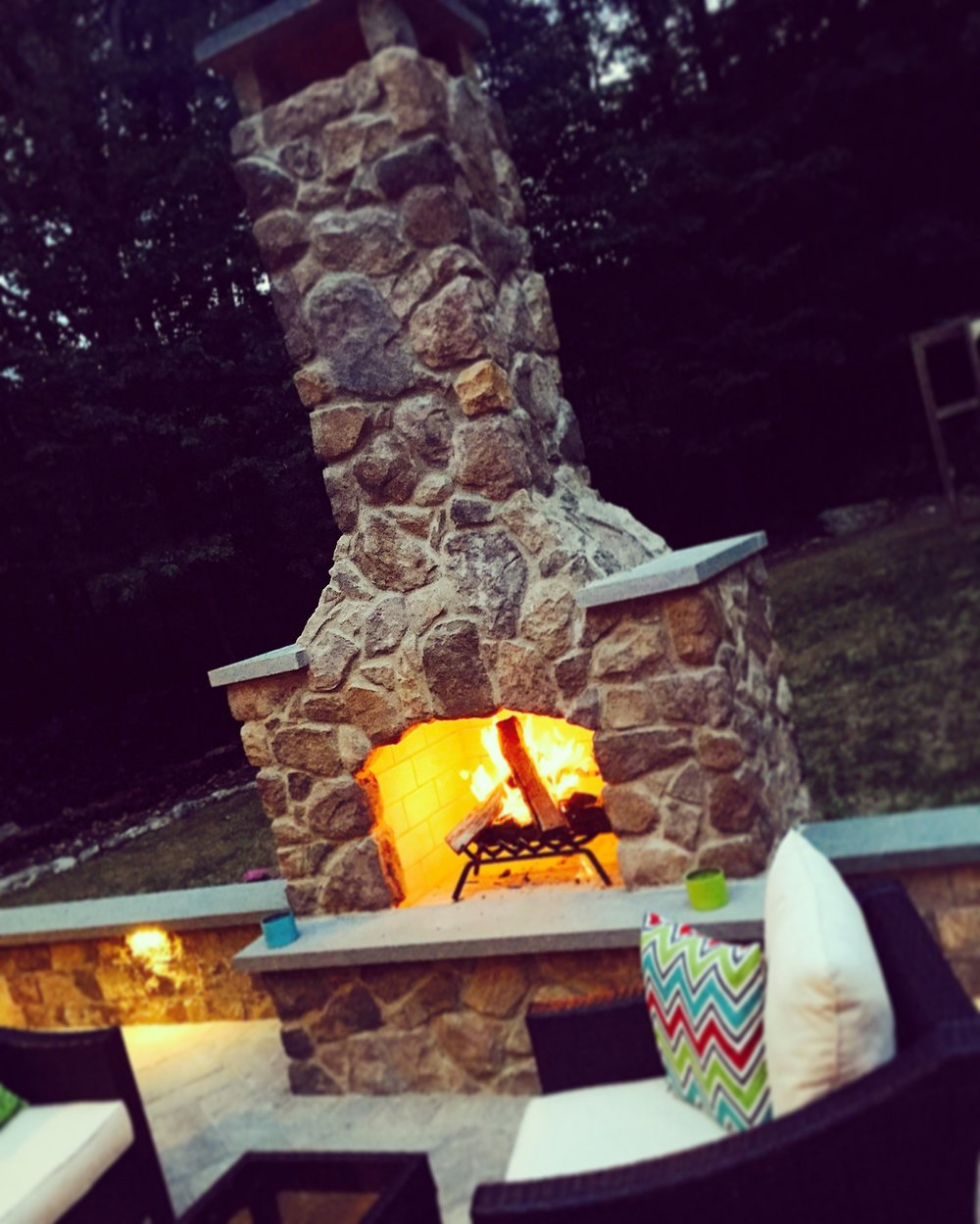 Outdoor fireplace in Wayne Township PA