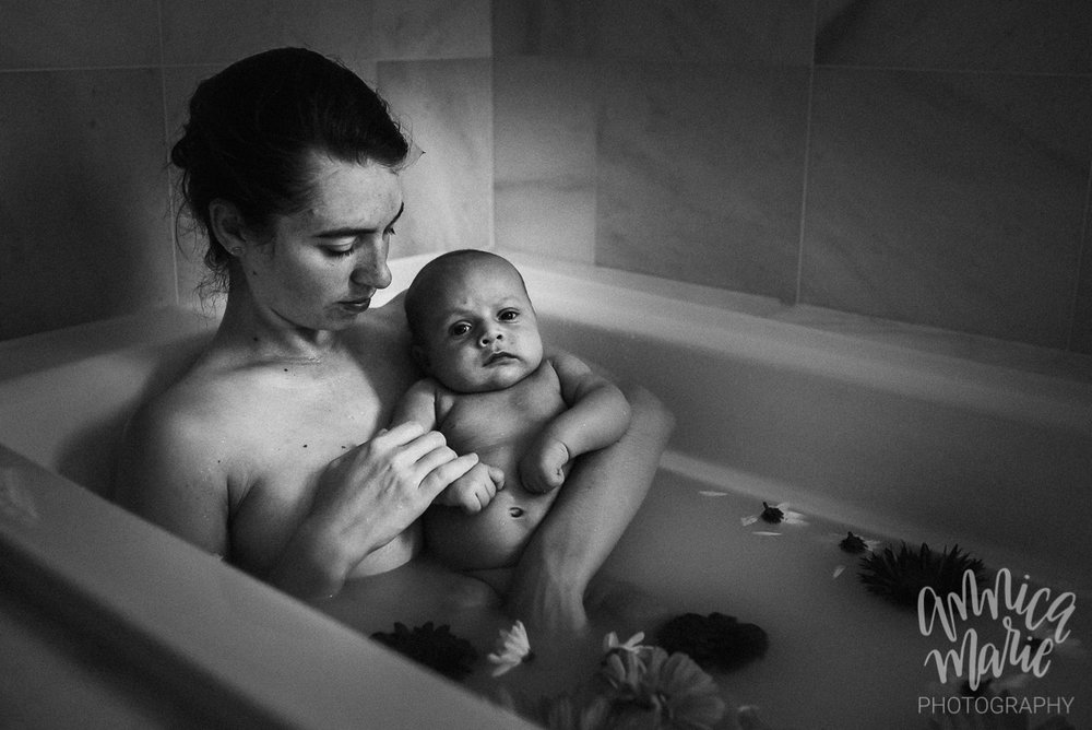 floral milk bath baby black and white