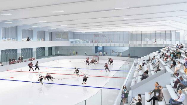 A rendering of one of two planned ice rinks at the new Robert Crown Center