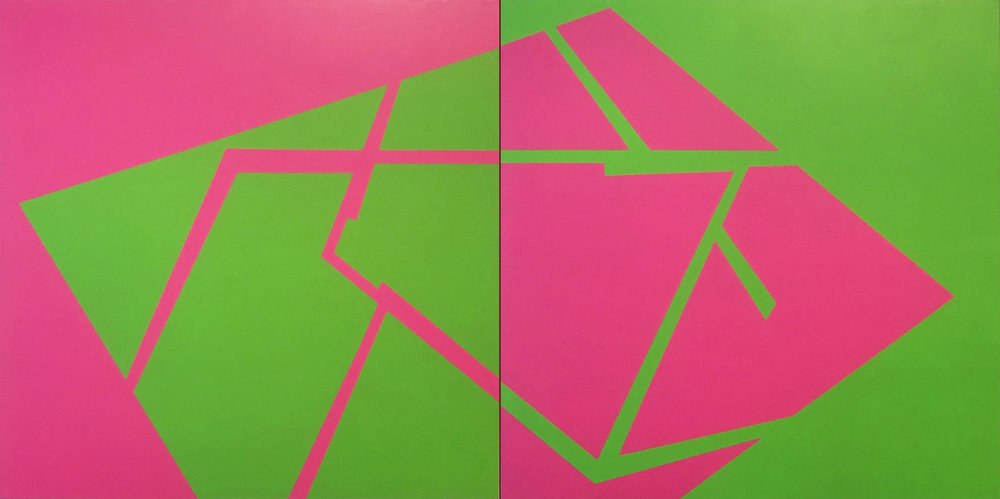 PLACE OF DIFFERENCE: Magenta and Lime Green (diptych)