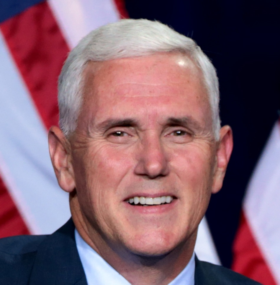 Republican Vice Presidential candidate Mike Pence. Notice anything off? Our first up with major work. These all look like crowns or veneers to us, but due to his age, we're going with crowns. The coloration (very white), uniformity of coloration, and the uniformity in shape are dead giveaways.