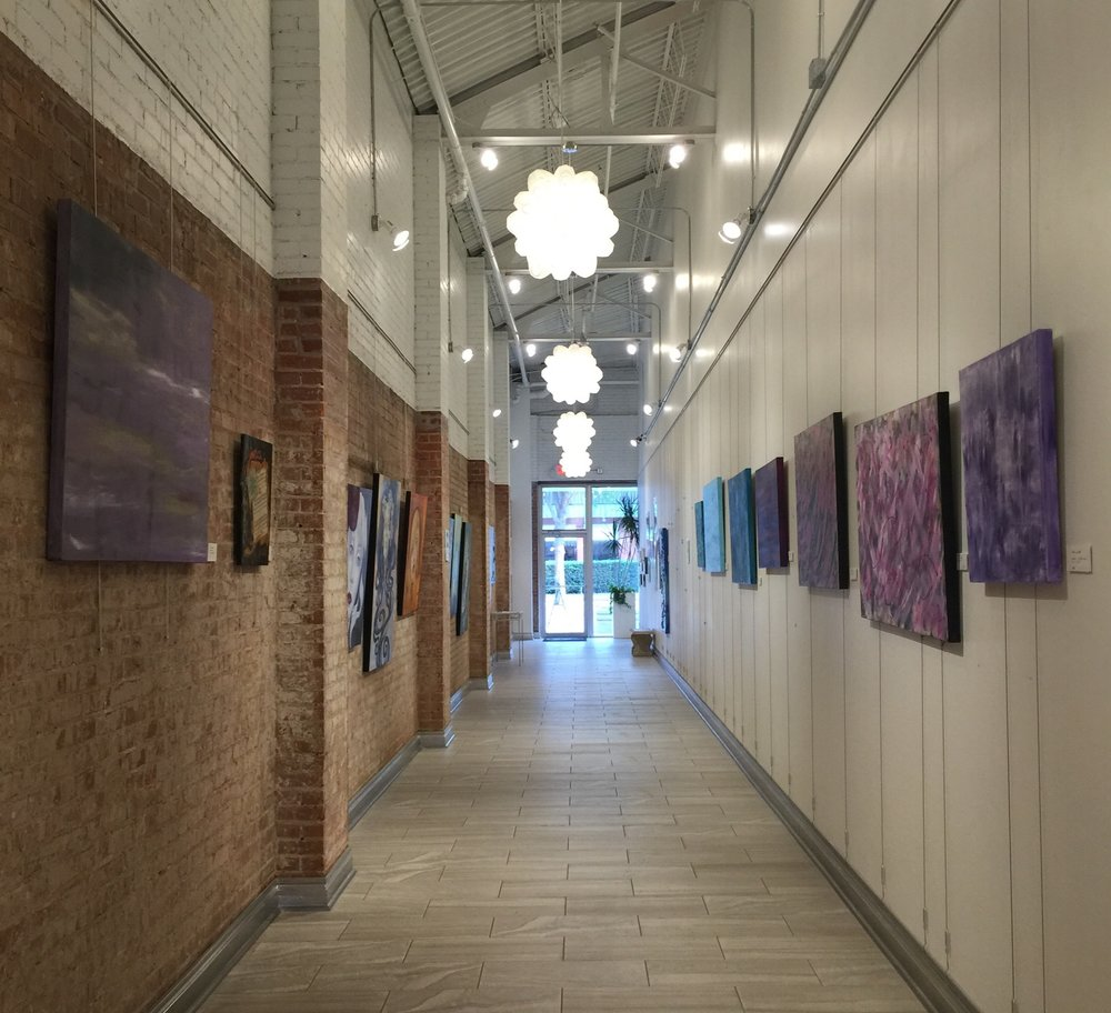 Installation view, facing South, featuring Julie Vogt, Ty Lawrence, and Lori Billy