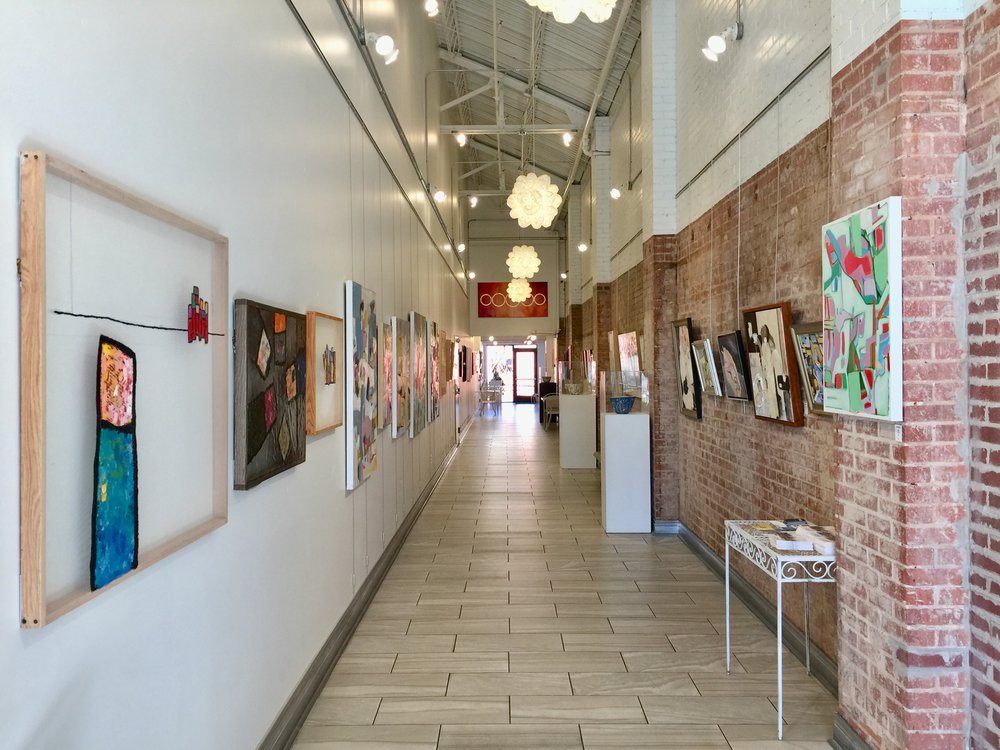 Installation view, facing North, of Fringe Women Artists of Oklahoma at The Art Hall. Featuring alexis austin on the left, and Mary James Ketch and Katie Henderson on the right.