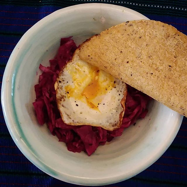 Kraut from friend  Egg from roadside  Tortilla from Hadley  Bowl from friend  Happy Sunday lunch!