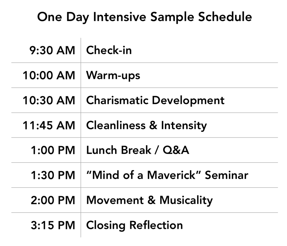 Maverick Dance Project Sample Schedule