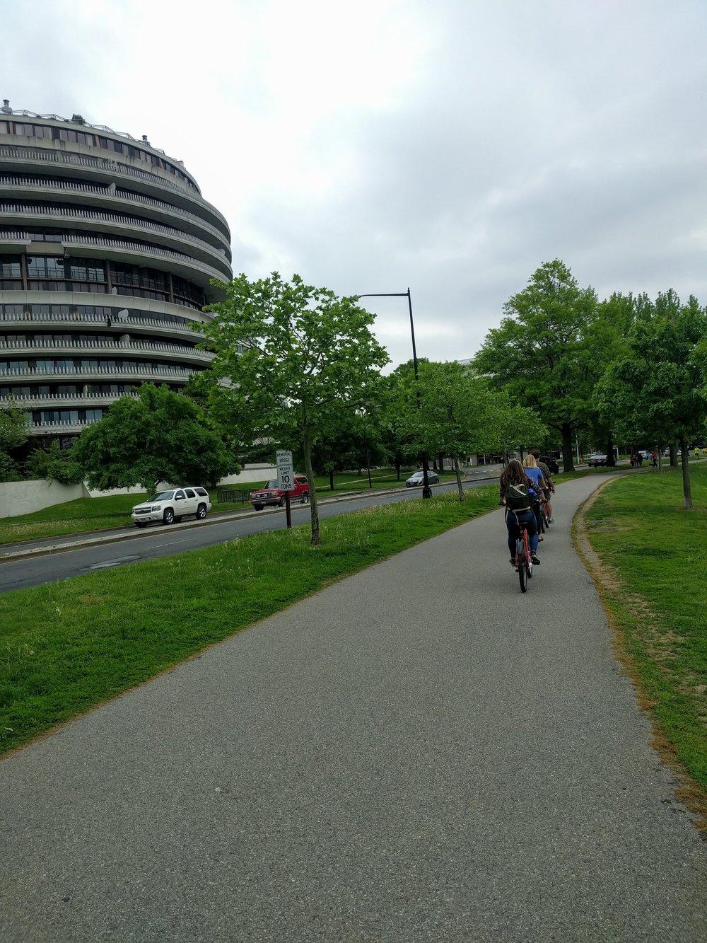 Riding bikes past Watergate!