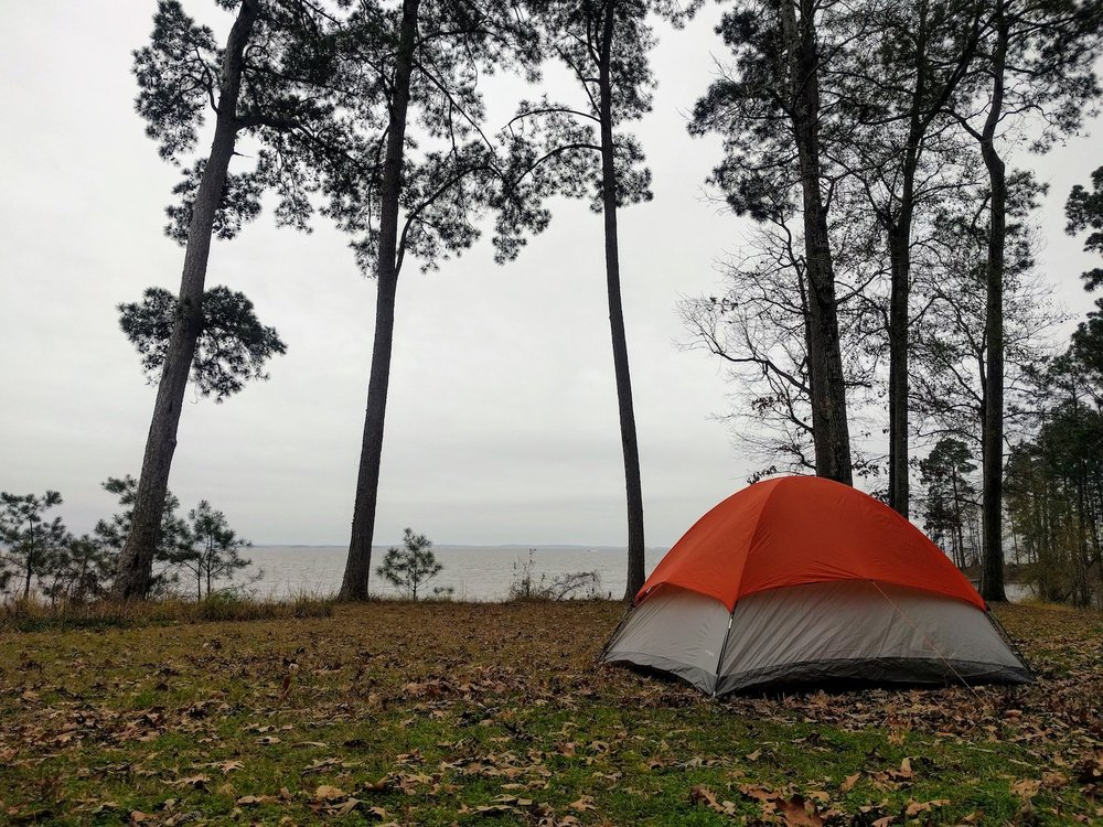 Our tent set up at our waterfront campsite in the Sabine National Forest. You can see Louisiana across the water.