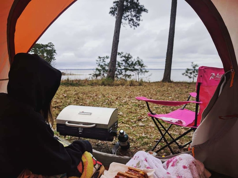Tent life is the best life! Hot dogs made right in our doorway!