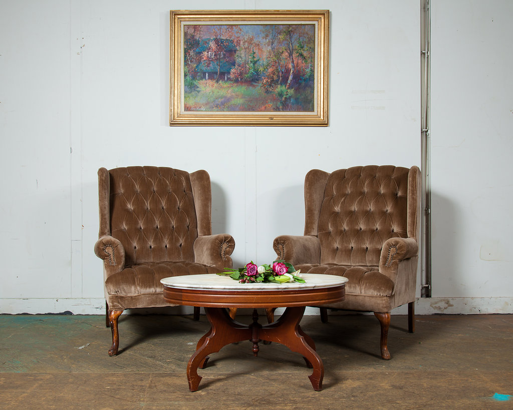 1950s Brown Suede Tufted Chairs (Set Of Two)