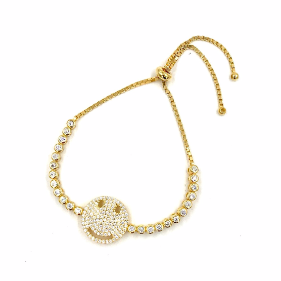 Ashley Gold Sterling Silver Gold Plated CZ Smiley Face Bracelet