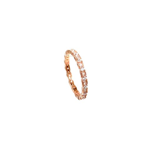 65111a35b5328 Ashley Gold Sterling Silver Rose Gold Plated Ring with Alternating Round  and Princess Cut CZ's