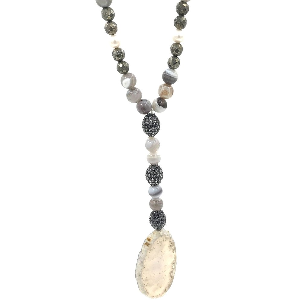 HIPCHIK Couture Necklace with Tiger Wood Stripe Agate Pyrite and