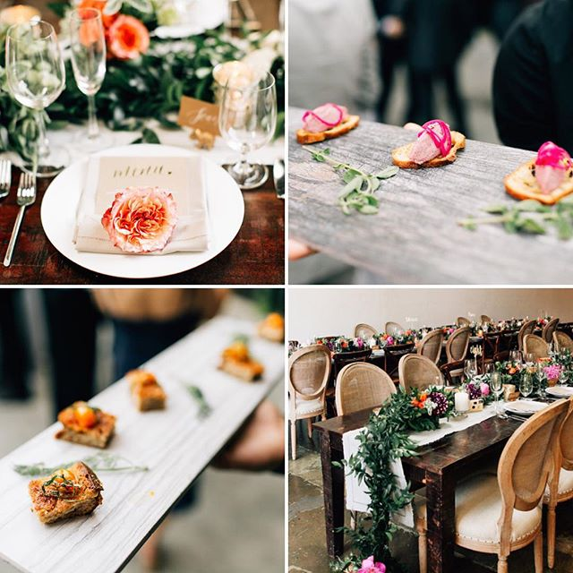 It's Wedding Wednesday! To celebrate the first couple days of spring, this gorgeous wedding at @theholdingco had some of the prettiest florals we've ever seen 🌷😍 For our hors d'oeuvres, we served up our pork rilletes with pickled shallots on a paper crostini, and grilled cheese with a cherry tomato confit!  Photography by @jennabechtholt / Event Design by @jennlaskey #weddingsbyJL • • •  #wedding #weddingideas #brides #engaged #couple #weddings #losangeles #dtla #spring #tablescape #event #wedding #weddinginspo #bridal #engagement #foodie #tasty #yum #reception #cater #grilledcheese #cheese #pork #appetizers