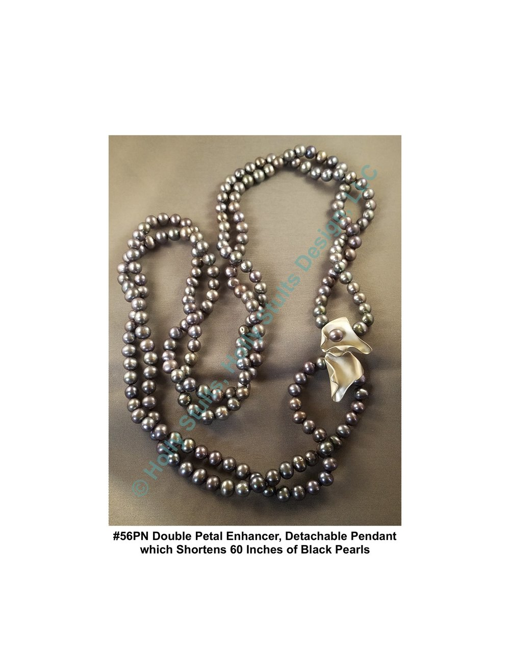 #56PN Double Petal Enhancer, Detachable Pendant which Shortens 60 Inches of Black Pearls.jpg