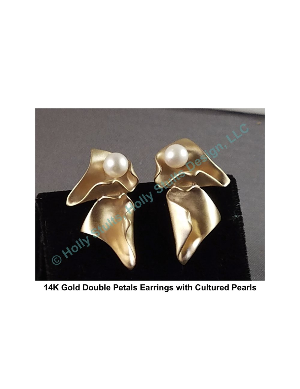 14K Gold Double Petals Earrings with Cultured Pearls.jpg