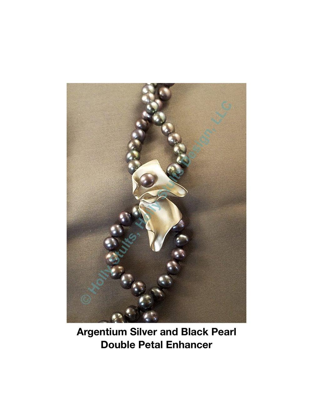 Argentium Silver and Black Pearl Double Petal Enhancer.jpg