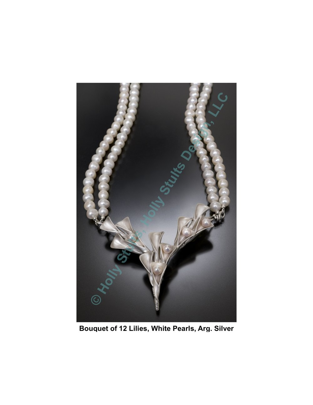 Bouquet of 12 Lilies, White Pearls, Arg. Silver.jpg