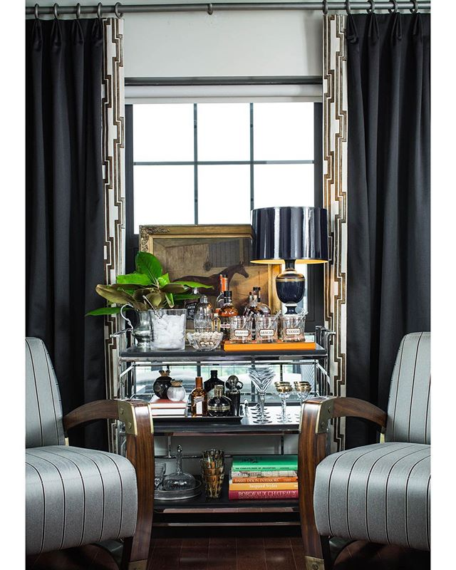 Busy designing a new office project and looking back at this space we designed for a dear friend while he was on deployment  as a surprise. Best room reveal ever! . . . . . #manoffice #stripes #madmenstyle #madmen #barcartstyling #barcart #interiordesign #marymcdonald #horse #horseart #homeoffice #homeofficedecor #homestudy #cointreau #chambord